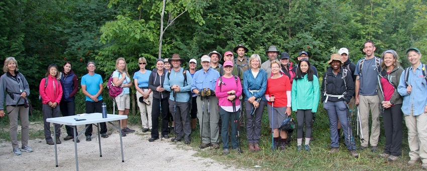Hikers participating in Beaver Valley End-to-End event pose for photo at registration. Photo Marg Yaraskavitch 2019