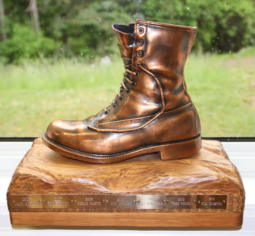 Keith Solomon Award. Bronzed work boot mounted on wood base with bronze plaques affixed, inscribed with annual award winners. Photo Marg Yaraskavitch 2015