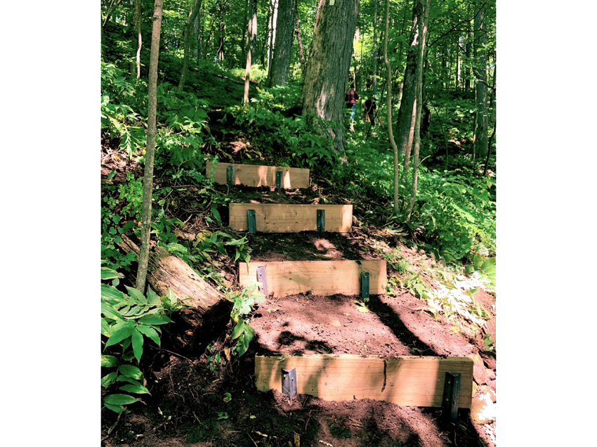 Completed stairs on steep slope on Bruce Trail at Eugenia Falls