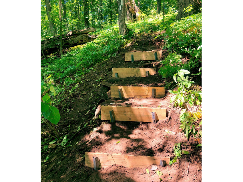 Second completed stairs on steep slope on Bruce Trail at Eugenia Falls